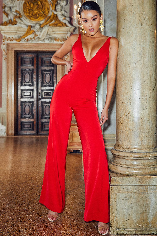 bb06d942d6d7 Clothing   Jumpsuits    Leilah  Red Plunge Neck Jumpsuit
