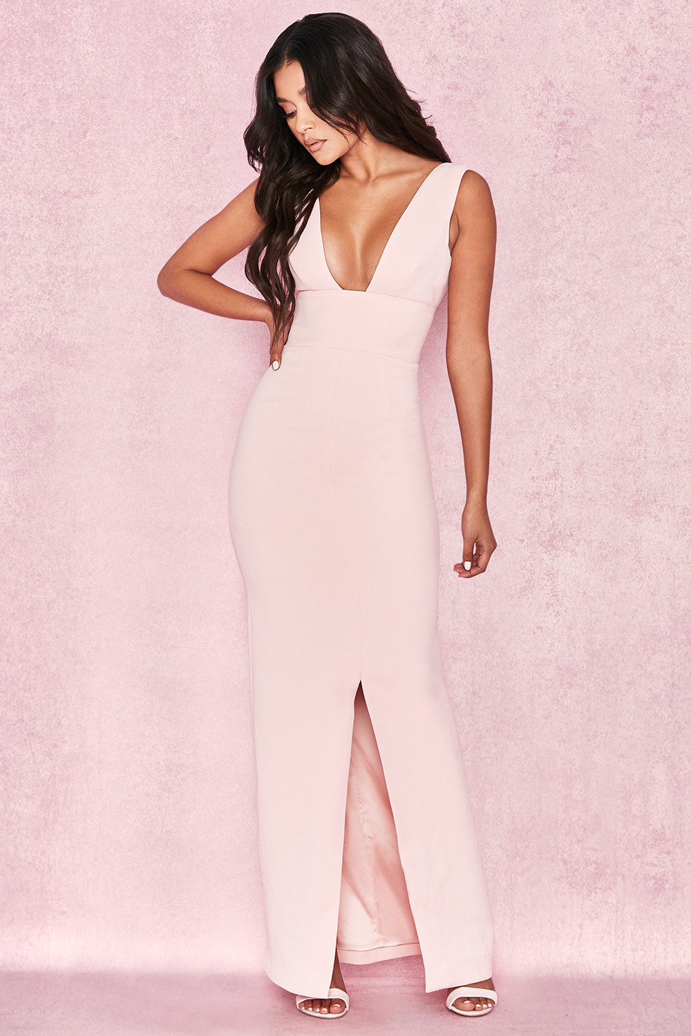 be606a6c3ca Narelle Baby Pink Plunge Neck Maxi Dress. View larger image. View larger  image. View larger image. View larger image