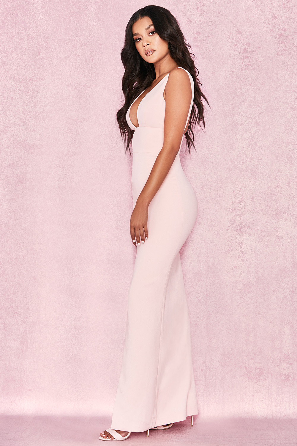 0b4c02f73ad Narelle Baby Pink Plunge Neck Maxi Dress. View larger image. View larger  image. View larger image. View larger image. View larger image
