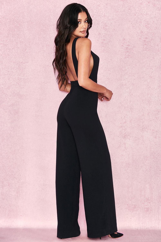 79dcf810d445 Clothing   Jumpsuits    Sharnah  Black Bib Front Crepe Jumpsuit