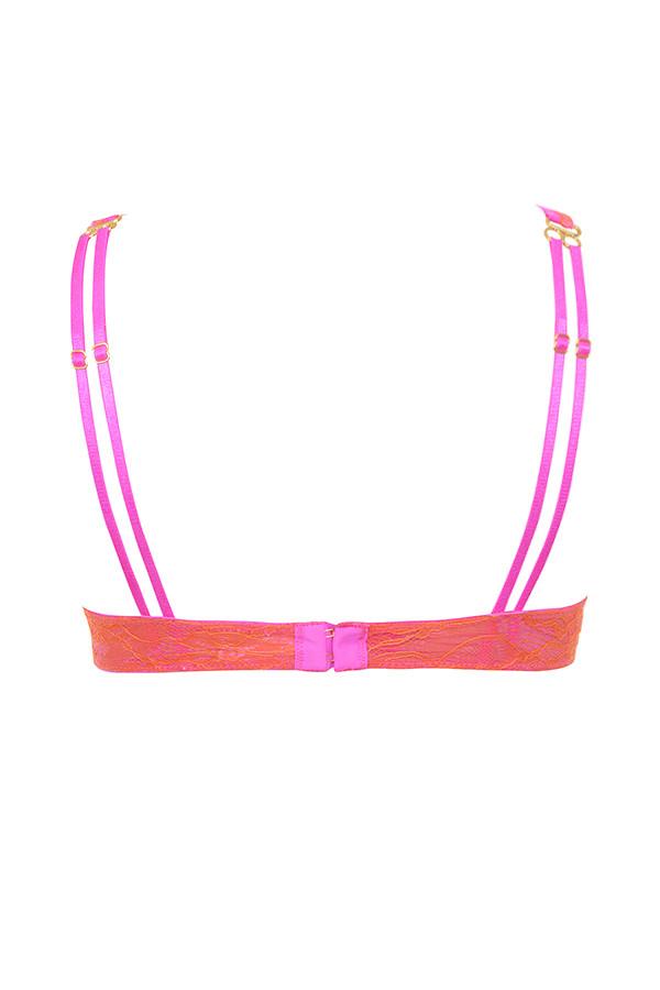 cdc651ff717fe Intimates : 'Victoria' Neon Sherbet Orange and Hot Pink Lace Bra Top