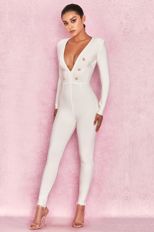 31e527bfd6ba Clothing   Jumpsuits    Alana  White Bandage Extreme Plunge Jumpsuit
