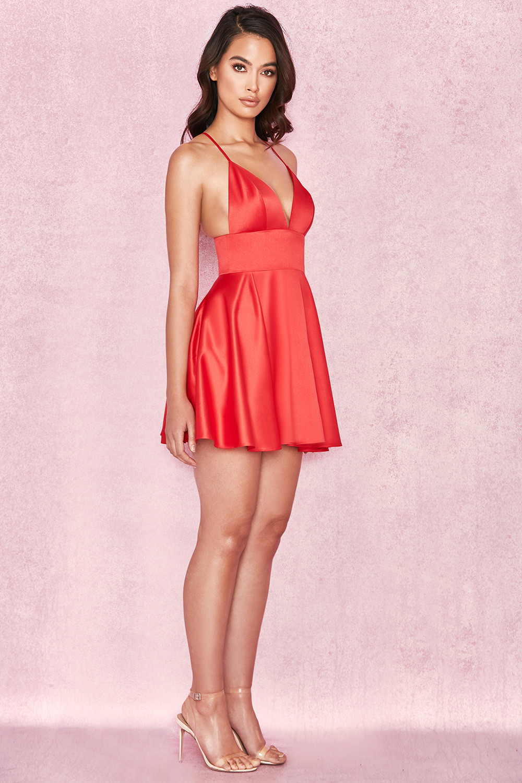 Clothing Bodycon Dresses Dahna Red Satin Bralet Mini