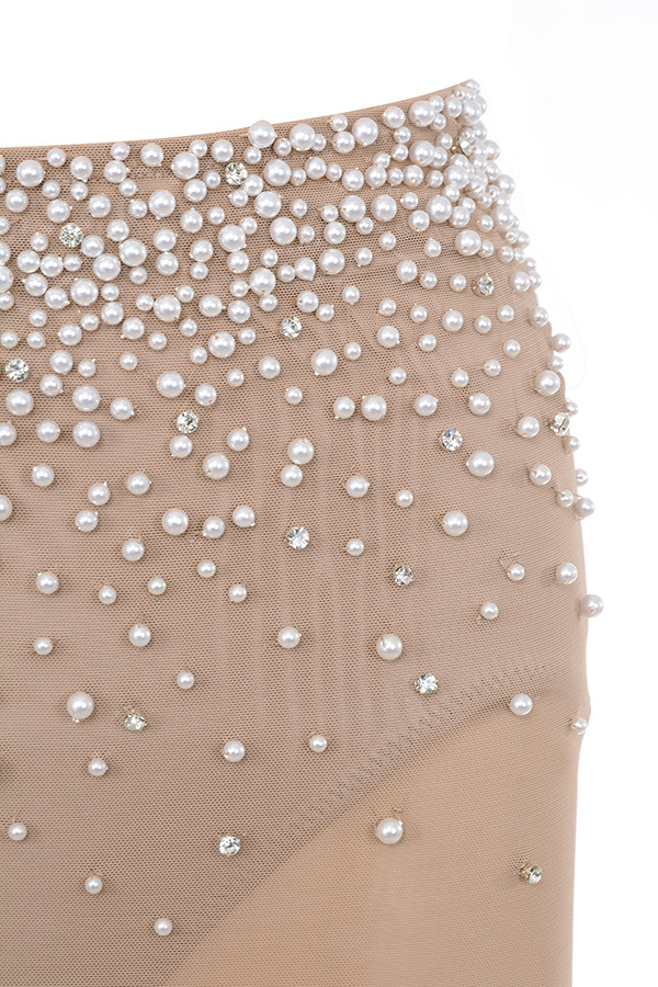 17c2043ba7 Hadassah  Nude Pearl Hand Embellished Sheer Skirt