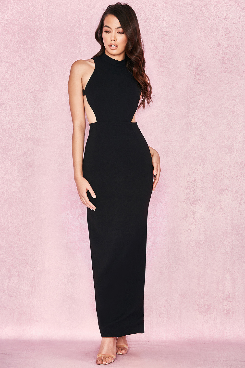 Clothing : Max Dresses : \'Lia\' Black Open Back Maxi Dress