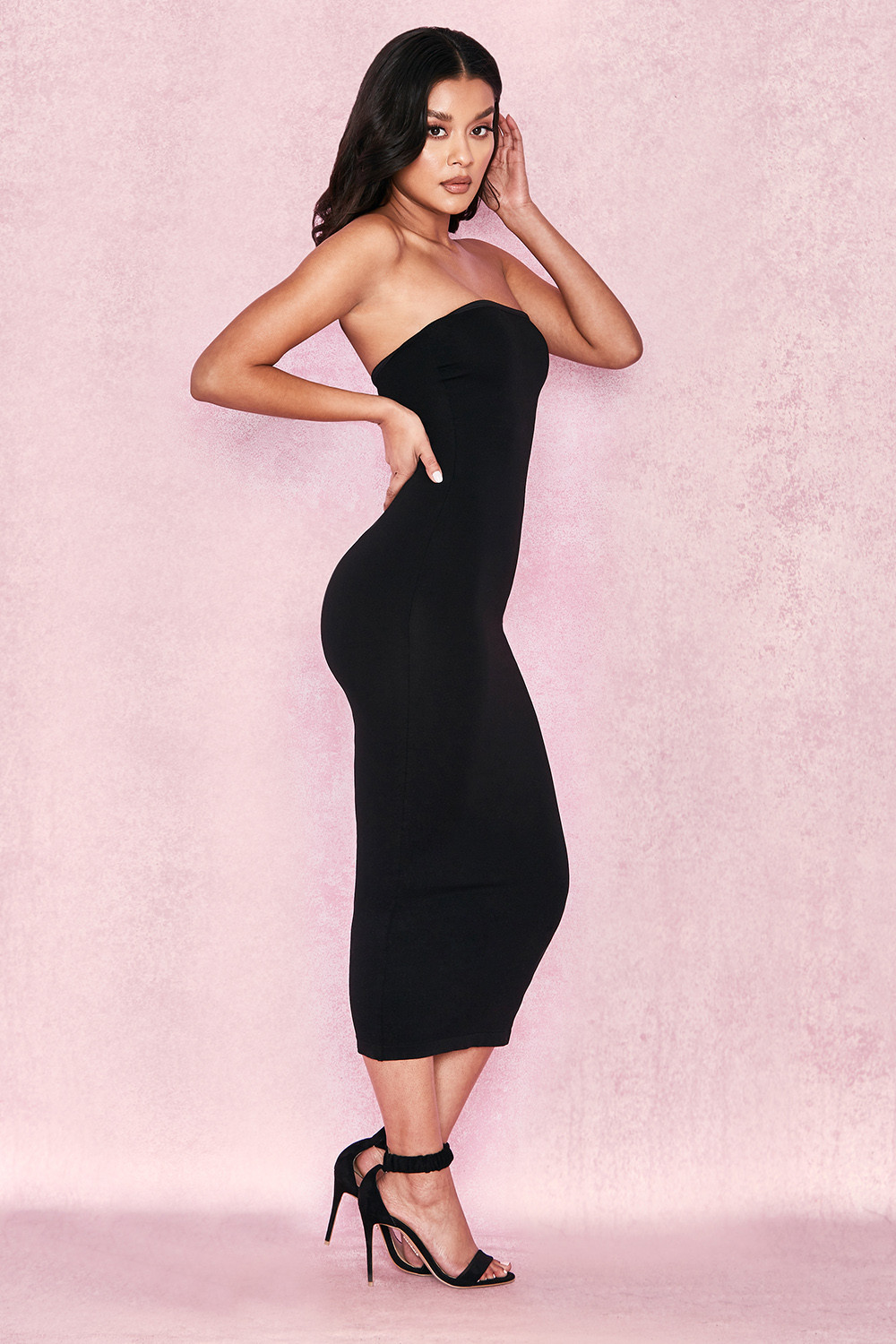a60c9f0f639 Clothing   Bodycon Dresses    Luciana  Black Strapless Seamless Knit ...