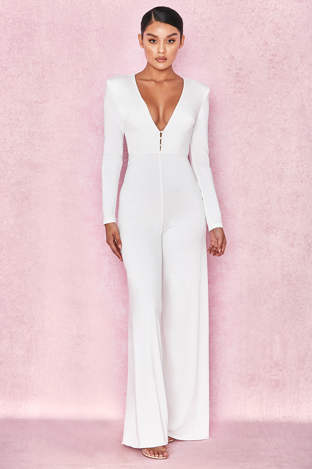 916c452719778 Clothing   Jumpsuits    Martina  White Silky Jersey Wide Leg Jumpsuit