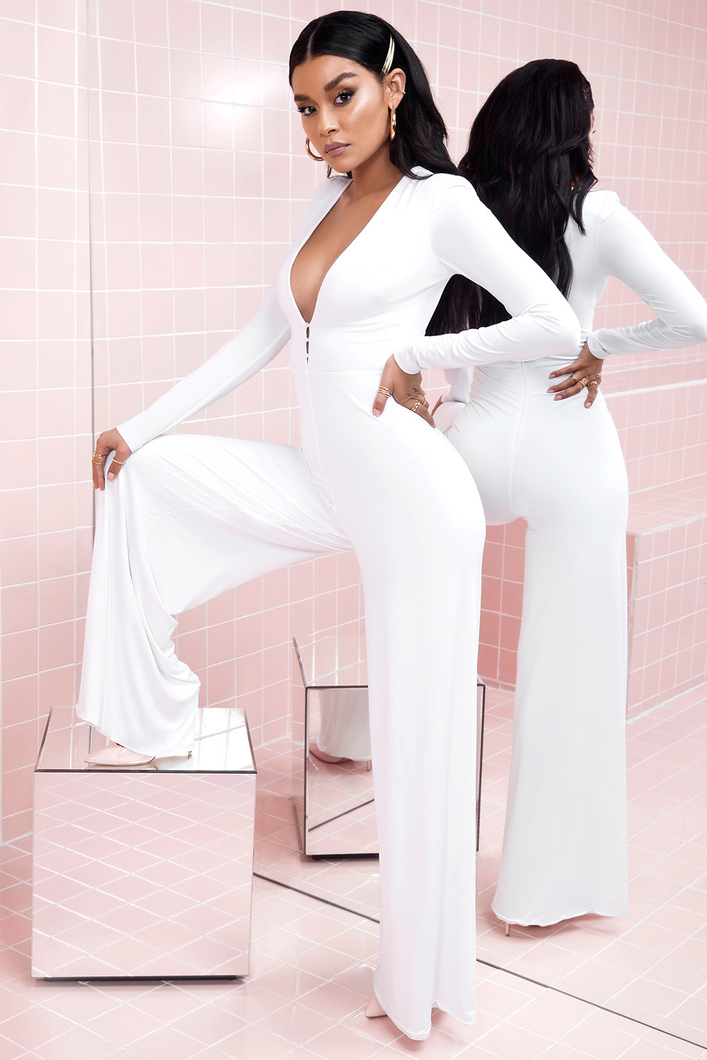 f8b397bebef Clothing   Jumpsuits    Martina  White Silky Jersey Wide Leg Jumpsuit