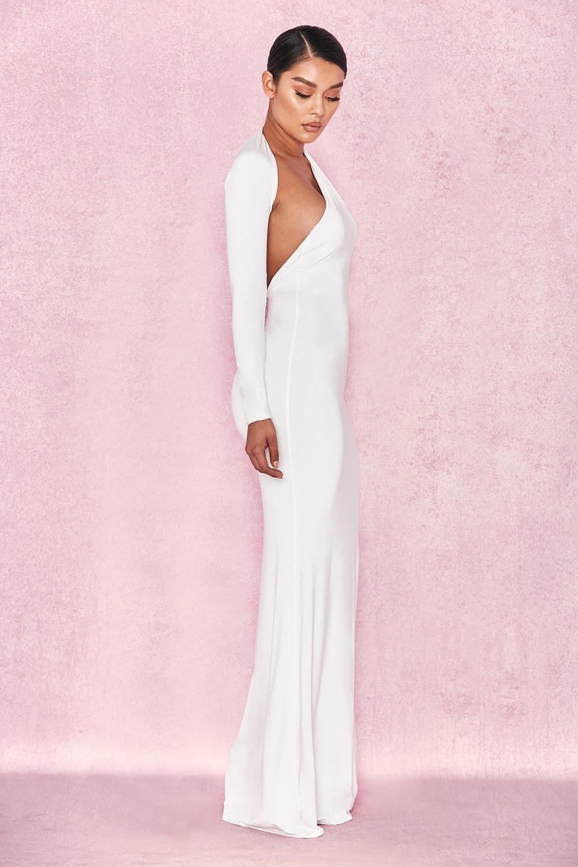 8c76f0f5bfa View Larger Image. Clothing Max Dresses Merveille White Wrap Sleeve Maxi  Dress ...