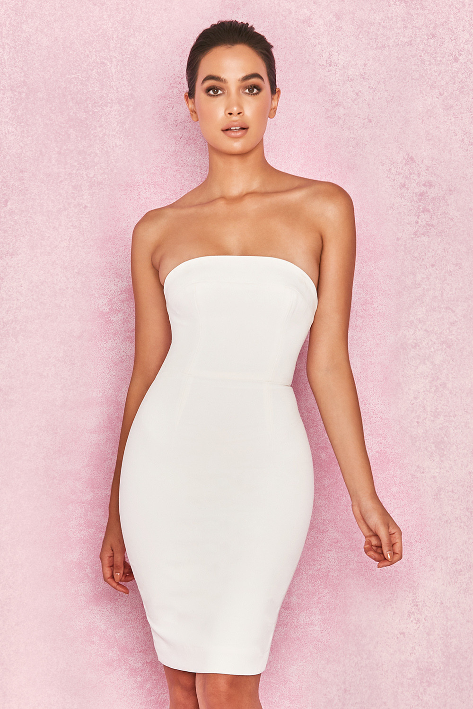 Clothing : Bodycon Dresses : 'Rinah' White