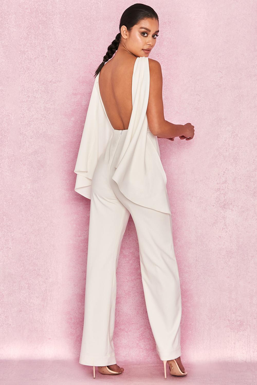 ea2e7dd7f35 Clothing   Jumpsuits    Celina  White Open Back Draped Jumpsuit