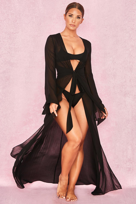 1b12436e20 Clothing : Swimwear : 'Evisa' Black Chiffon Beach Maxi Dress Cover Up