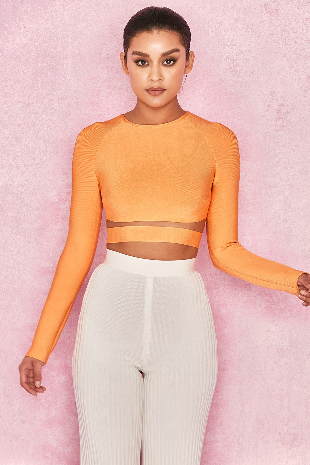 988301f707216 Clothing   Tops    Talika  Neon Orange Bandage Crop Top with Waistband