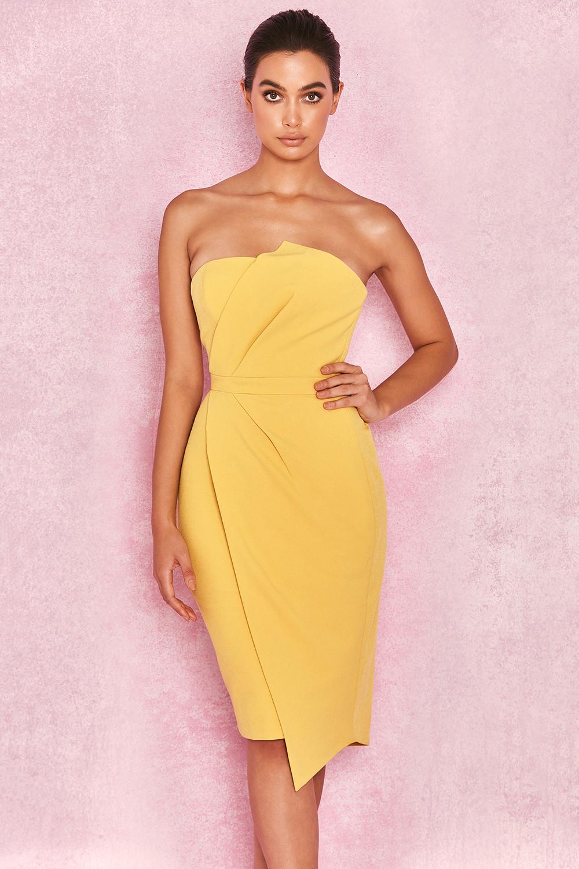 7bee2ef749c Clothing   Structured Dresses    Uma  Yellow Fold Front Mini Dress