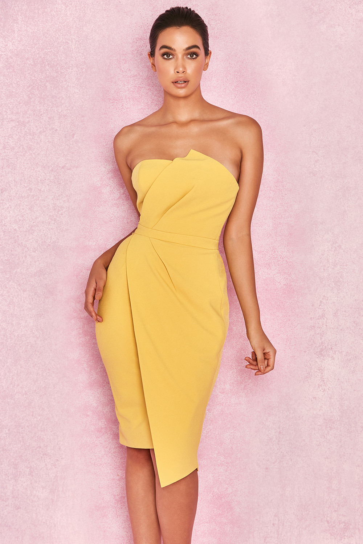 bc447e0736fe Clothing : Structured Dresses : 'Uma' Yellow Fold Front Mini Dress