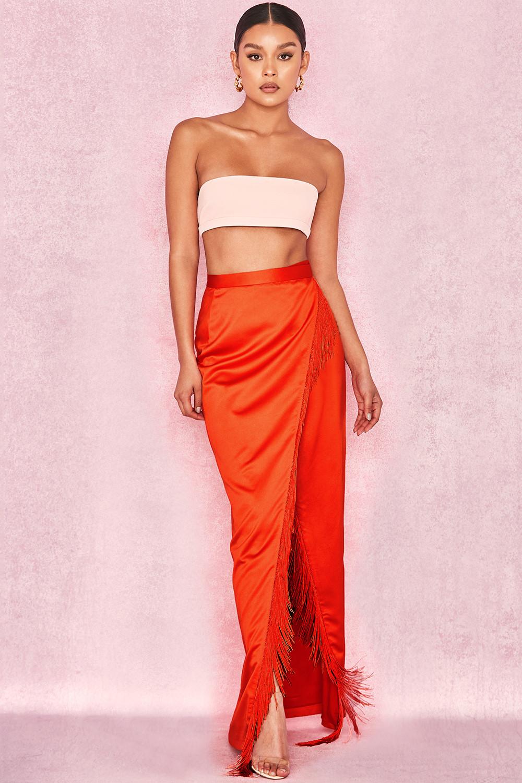 2c807a62c9a Clothing   Skirts    Kartiki  Orange Fringe Wrap Maxi Skirt