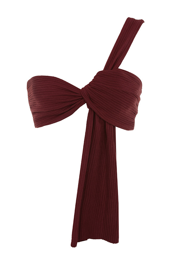 030e871644f12 Clothing   Tops    Marnelle  Burgundy Knot Front Cropped Rib Top