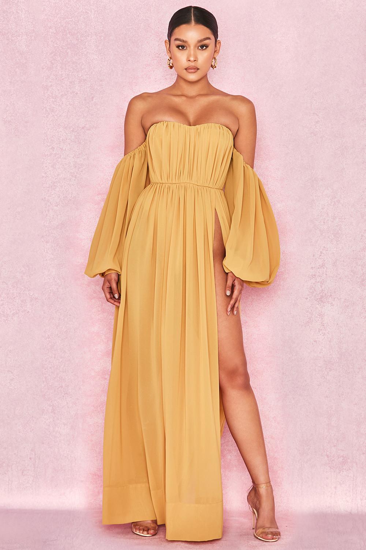 e7212fd4a6 Clothing   Max Dresses    Marlena  Mustard Chiffon Bardot Maxi Dress
