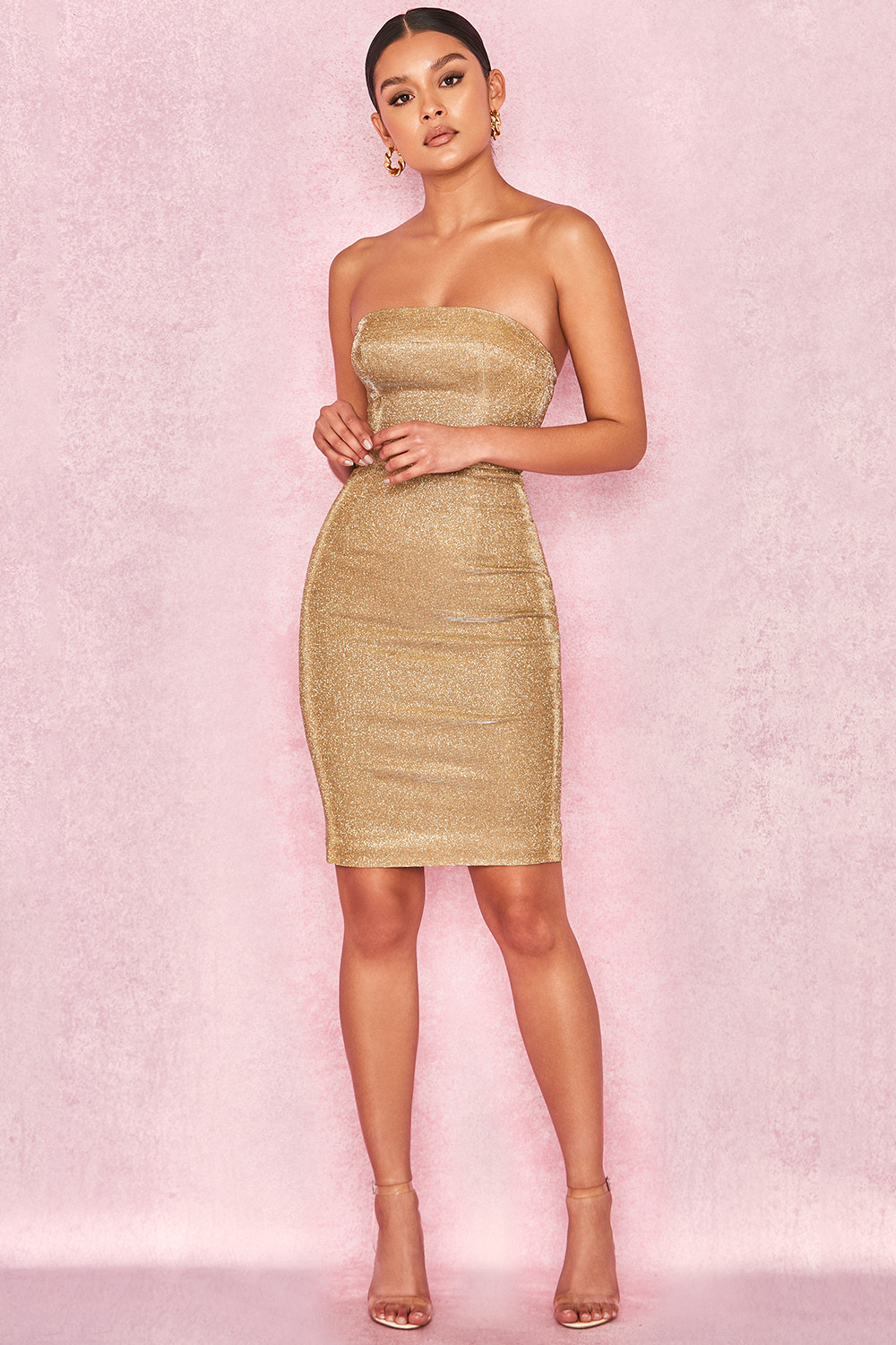 36a9dd9ed384 Rinah Iridescent Gold Strapless Mini Dress. View larger image. View larger  image