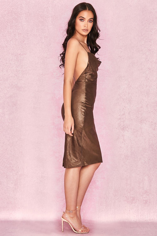 571c8319690a Clothing : Bodycon Dresses : 'Claudia' Bronze Satin Draped Slip Dress