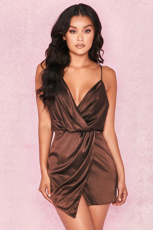 04f781b54aa1c Clothing : Structured Dresses : 'Helaina' Chocolate Satin Draped ...