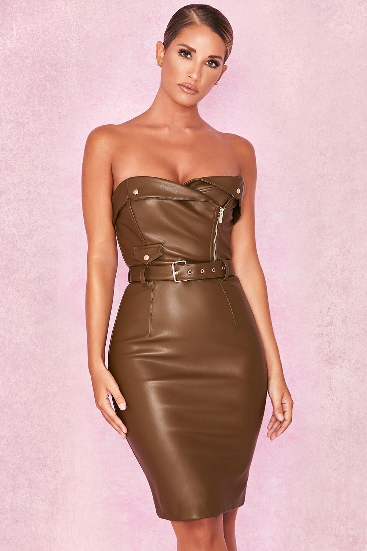 Clothing   Bodycon Dresses    Jocelyn  Olive Strapless Biker Jacket ... 4e983da5e