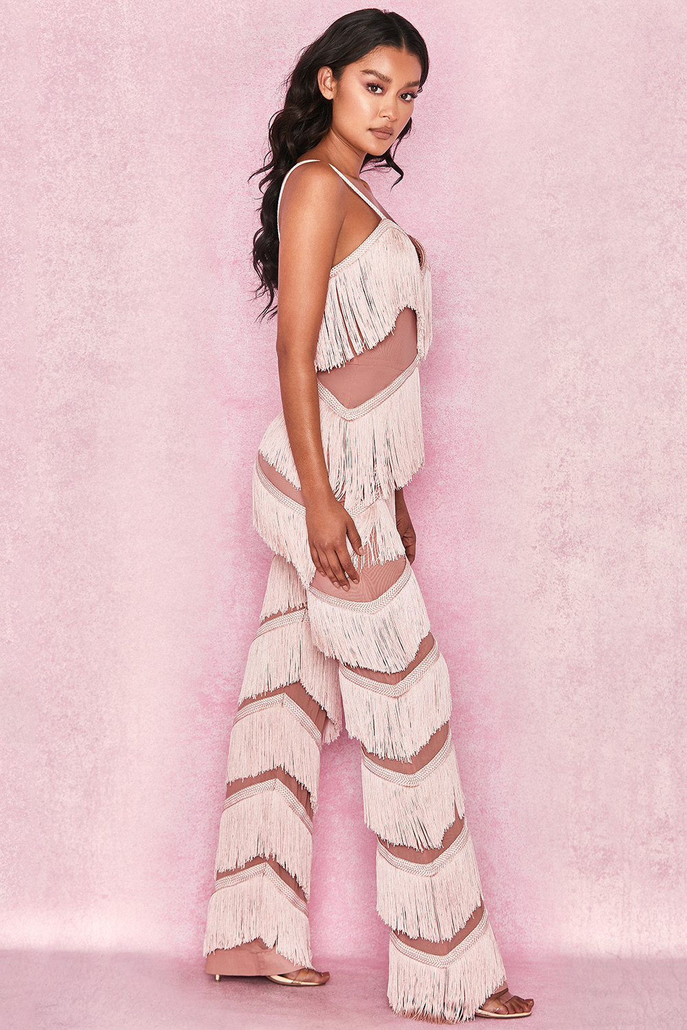 11721dc006f5 Clothing   Jumpsuits    Marcella  Pink Fringed Jumpsuit