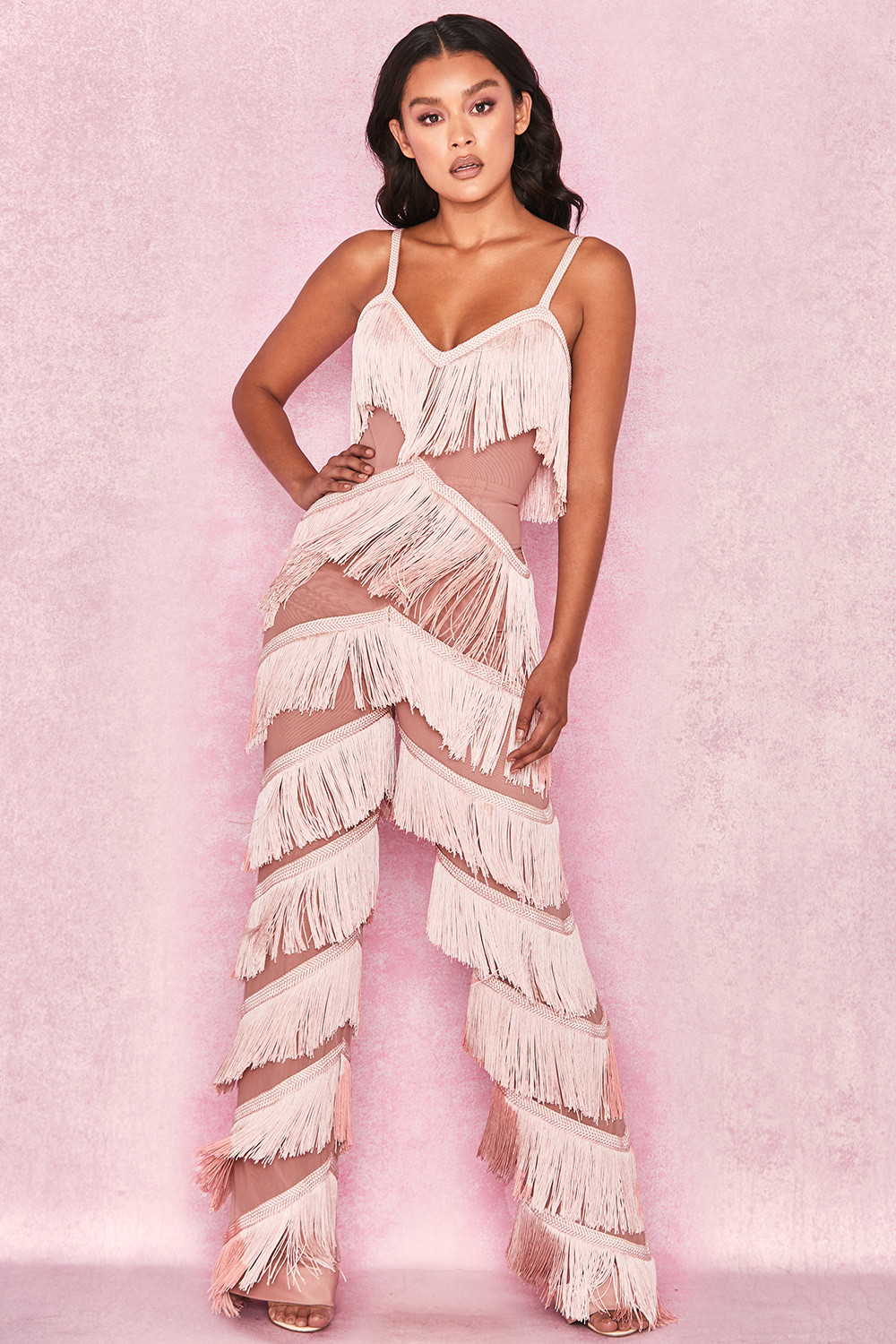f94ef7568aec Clothing   Jumpsuits    Marcella  Pink Fringed Jumpsuit