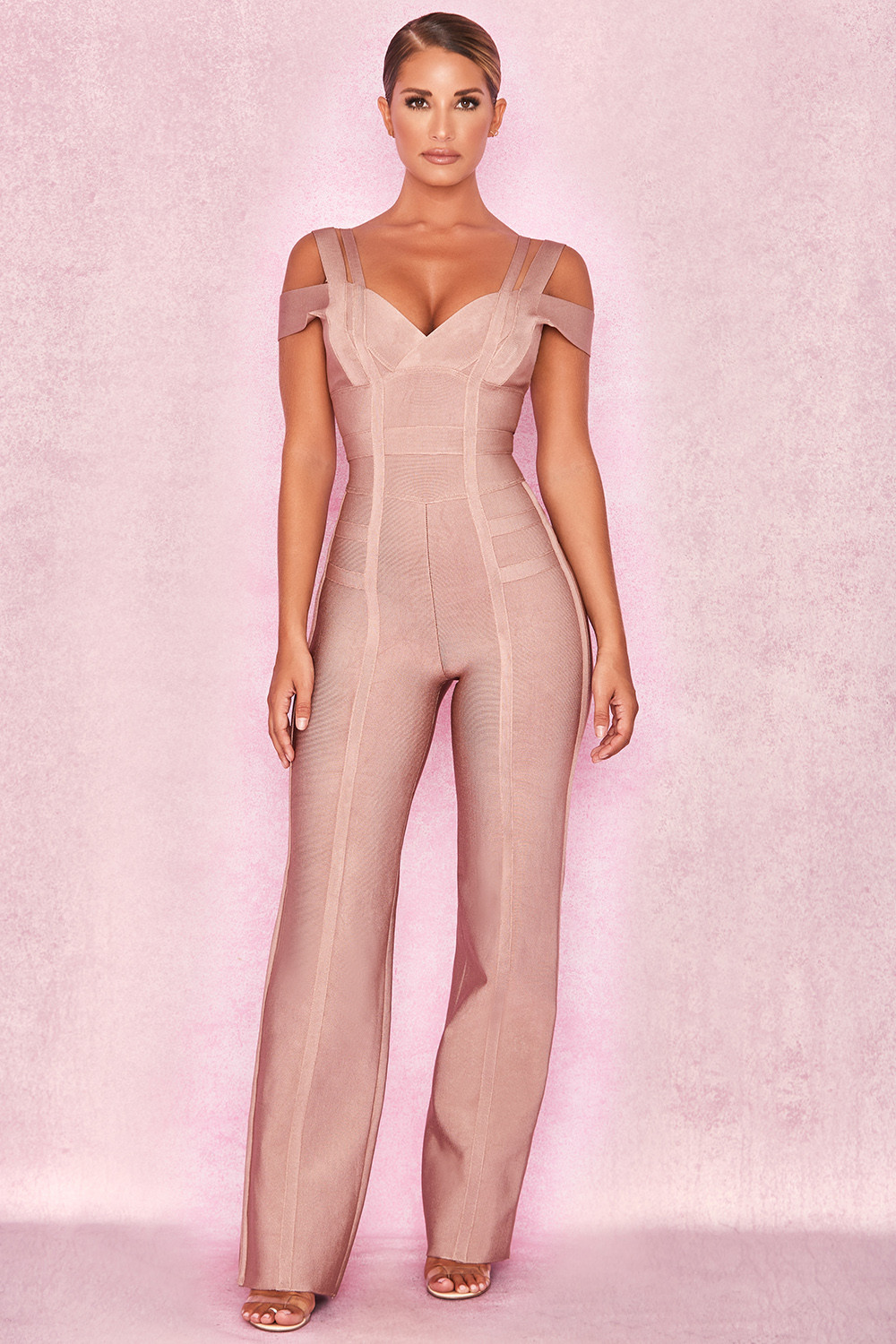 a6a90437e442 Clothing   Jumpsuits    Mimosa  Taupe Bandage Multi Strap Jumpsuit