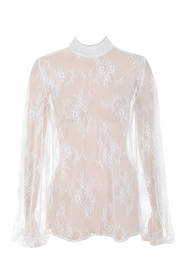 6ab94e6f8 Clothing : Tops : 'Clara' White Sheer Lace High Neck Blouse