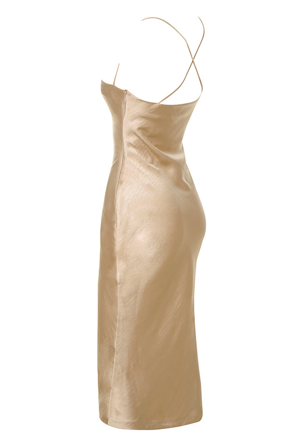 4d38ad6b6d3f Clothing : Bodycon Dresses : 'Julieta' Champagne Satin Slip Dress
