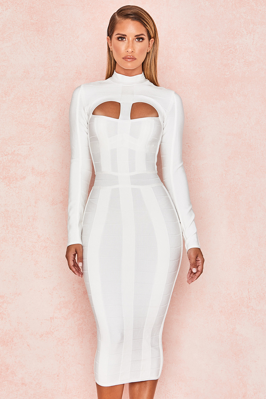 4beaa4d8b3e Clothing   Bandage Dresses    Azariah  White Cut Out Long Sleeve ...