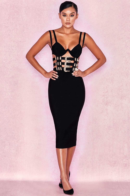 4808187c40451 Bandage Dresses > 'Kia' Black Bandage Belted Dress. View larger image. View  larger image