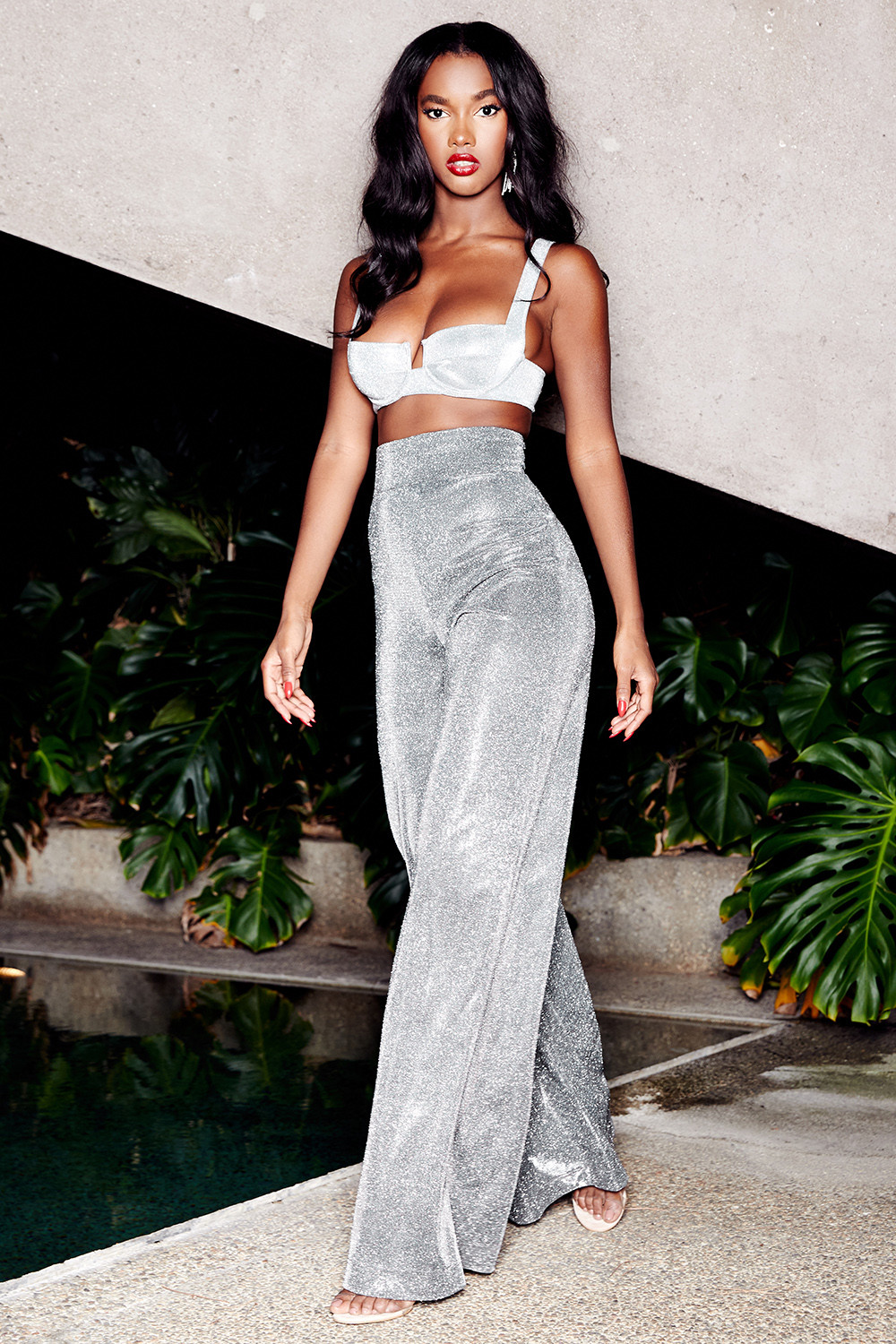 394632d08  Margarita  Silver Sparkly Wide Leg Trousers