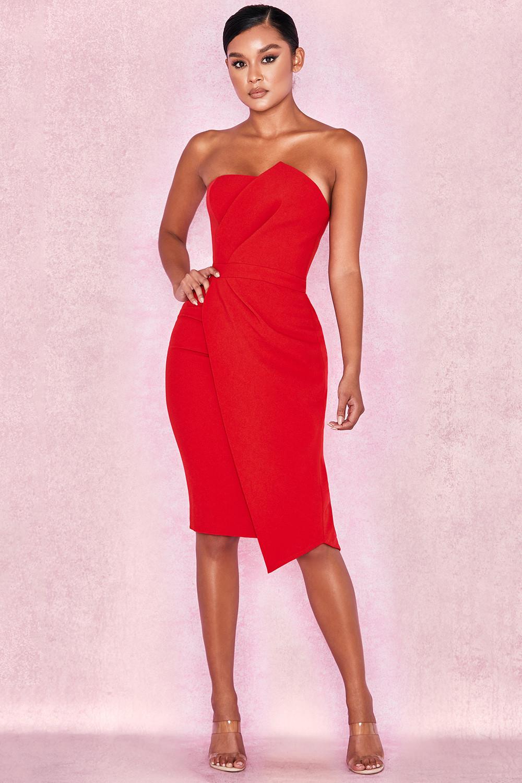 295aa00375f Uma Red Fold Front Mini Dress. View larger image. View larger image. View  larger image. View larger image