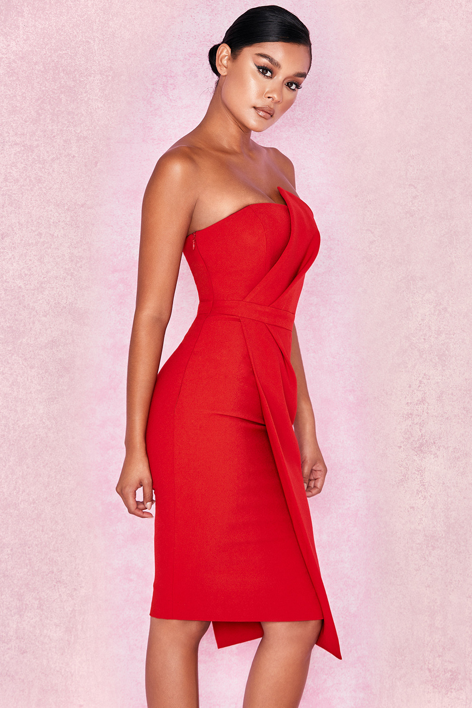 768af21e16a Clothing   Structured Dresses    Uma  Red Fold Front Mini Dress