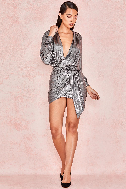 70b4ff8bf777 'Alvona' Metallic Silver Drape Mini Dress. View larger image. View larger  image. View larger image. View larger image