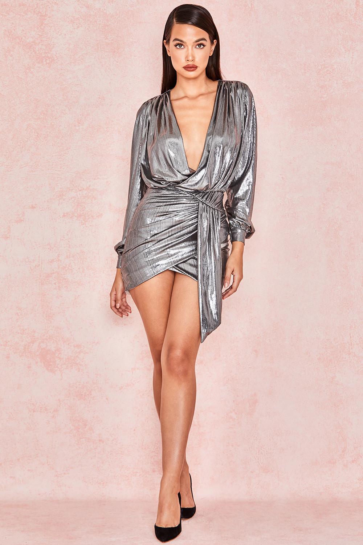 7a5f387f7f68 'Alvona' Metallic Silver Drape Mini Dress. View larger image. View larger  image. View larger image. View larger image. View larger image