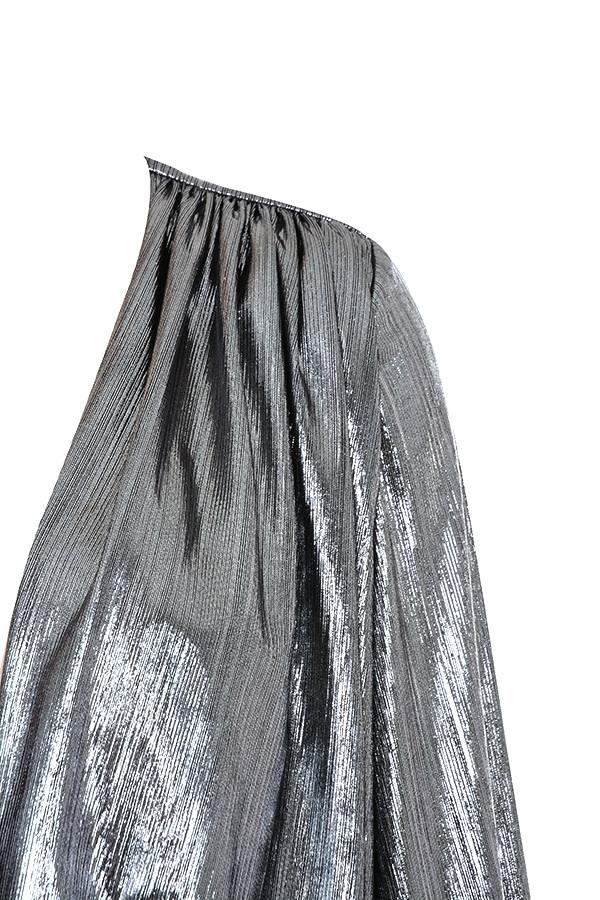 41d6b1d18c03 Clothing : Bodycon Dresses : 'Alvona' Metallic Silver Drape Mini Dress