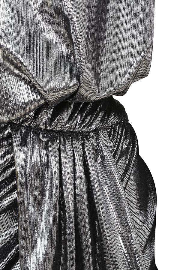 cf807a18b89b silver alvona dress. View larger image. 'Alvona' Metallic Silver Drape Mini  ...