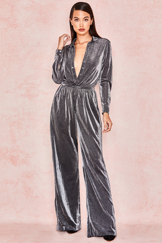 Clothing Jumpsuits Beatriz Silver Black Sparkly Jumpsuit