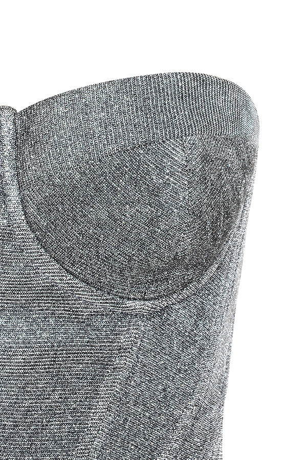 54692f5e9 Clothing   Tops    Donatella  Silver Sparkly Corset Bustier