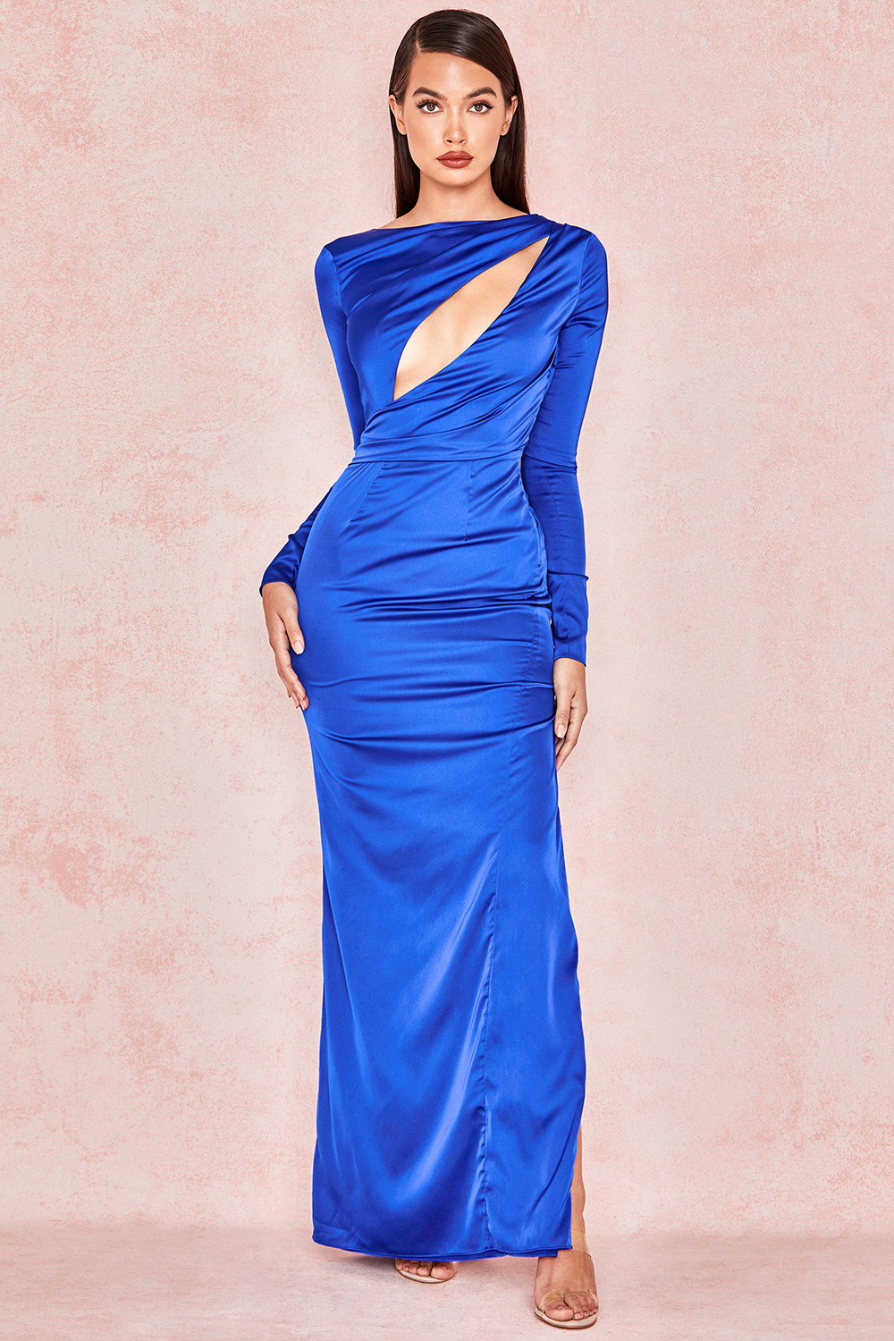 b66ce3bd721 Salome Electric Blue Satin Open Front Maxi Dress. View larger image. View  larger image