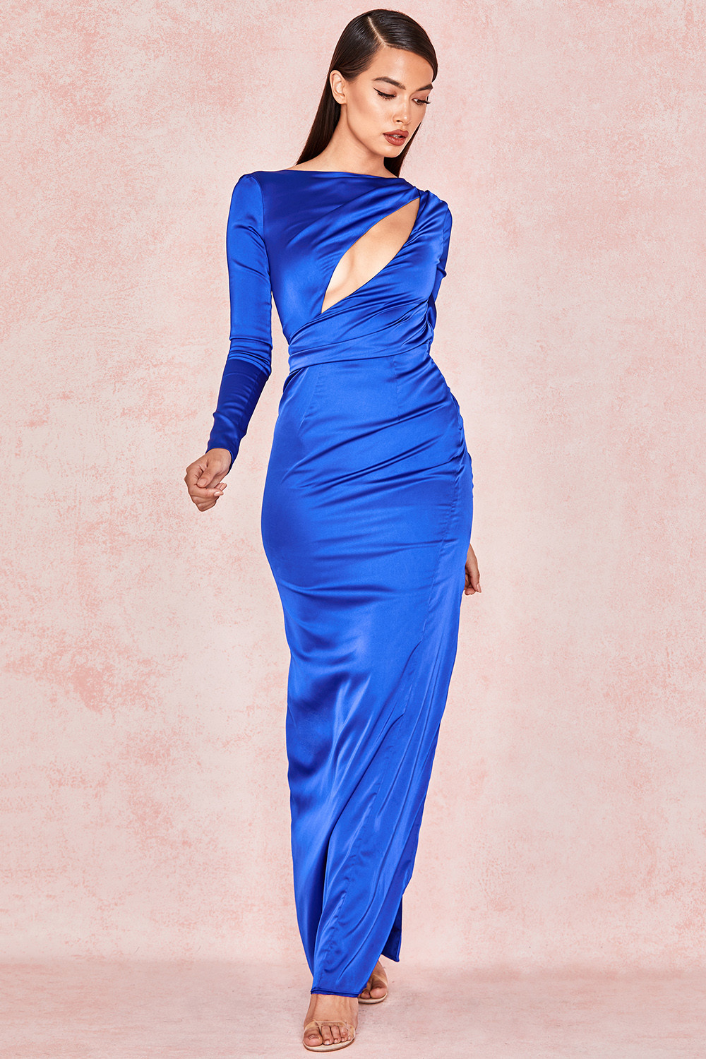 bf069ccd74b Salome Electric Blue Satin Open Front Maxi Dress. View larger image. View  larger image. View larger image
