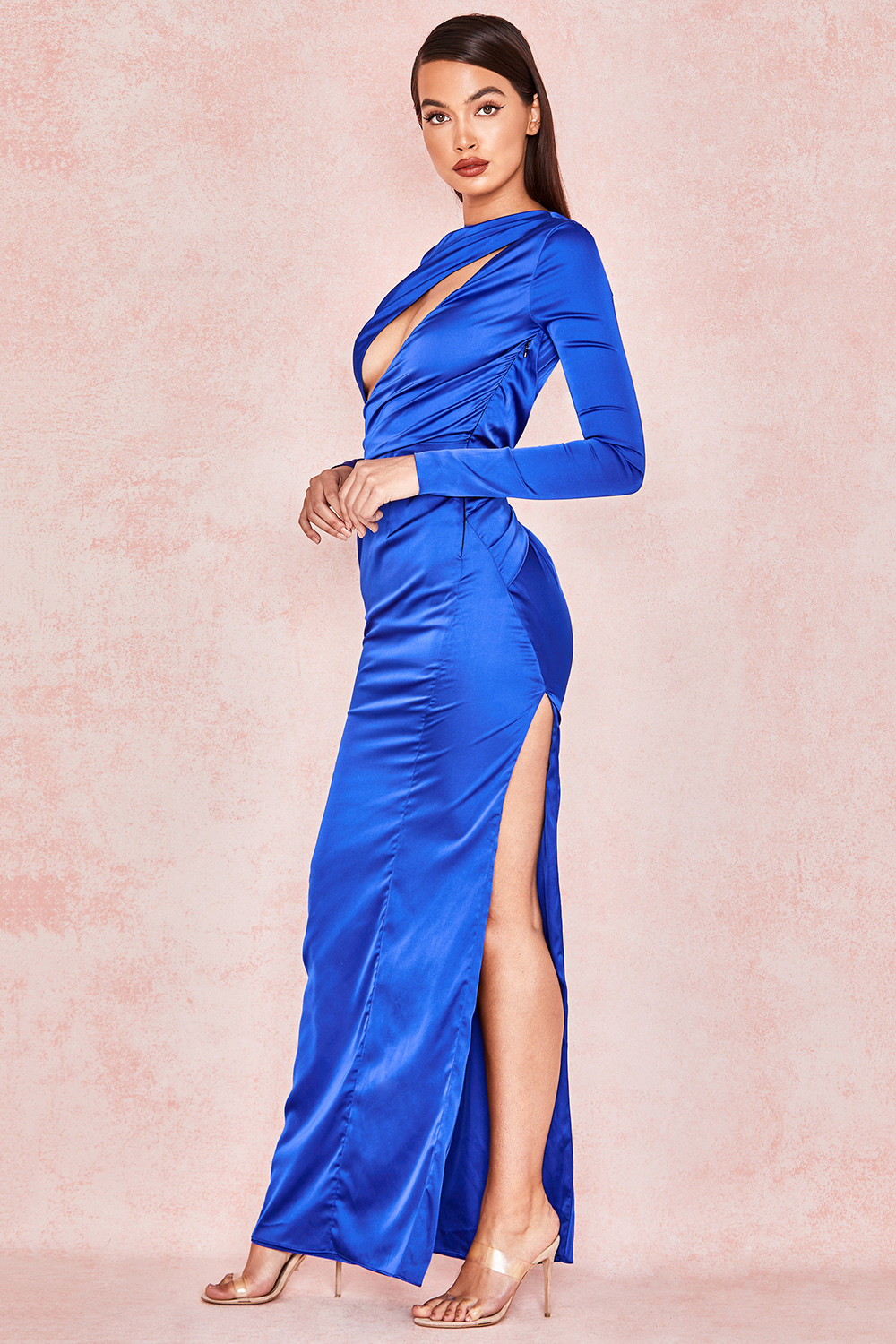 79c5150a1fb Salome Electric Blue Satin Open Front Maxi Dress. View larger image. View  larger image. View larger image. View larger image. View larger image. View  larger ...