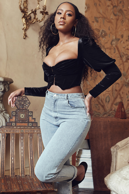 60f830b9a3 Clothing   Tops    Karla  Black Velvet Puff Sleeve Corset