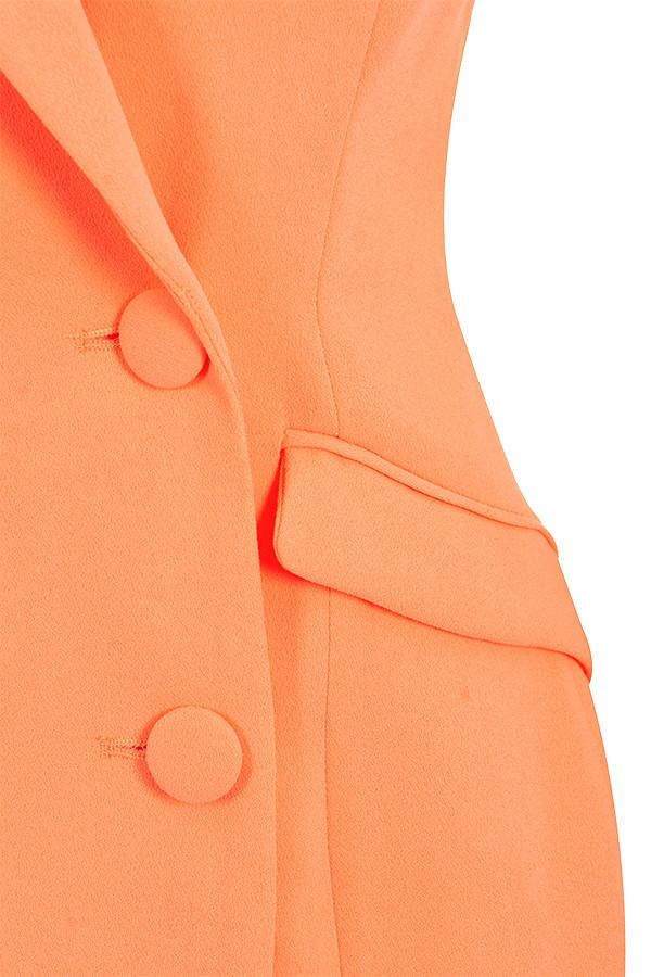 63e80ec45885 Clothing : Jackets : 'Raven' Orange Crepe Blazer Dress