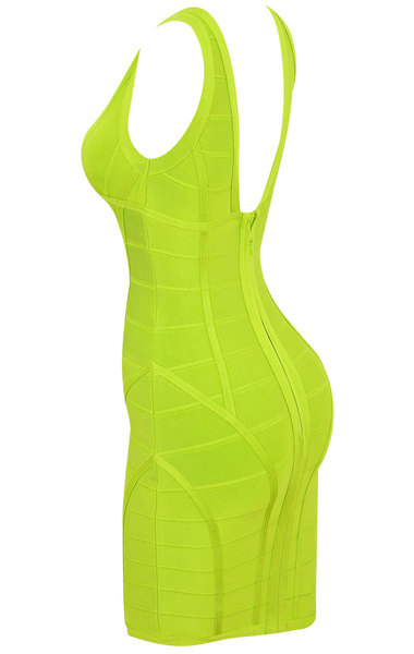Jenna Neon Lime Green Bandage Dress