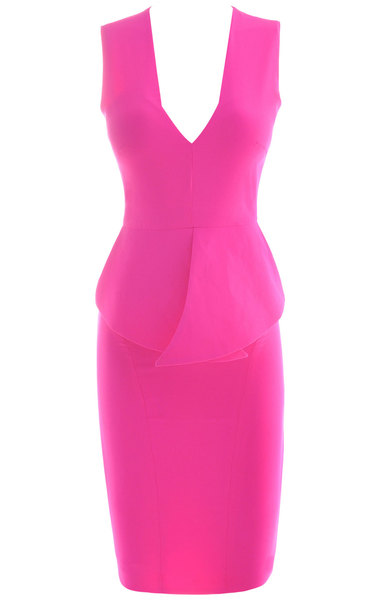 Ciara Neon Fuchsia Peplum Dress