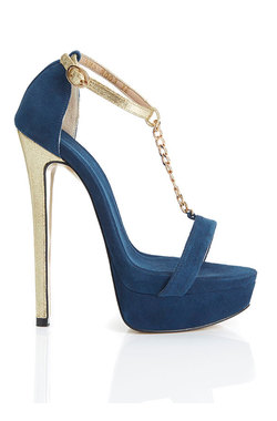 Daytona Blue Suede Platform Sandals
